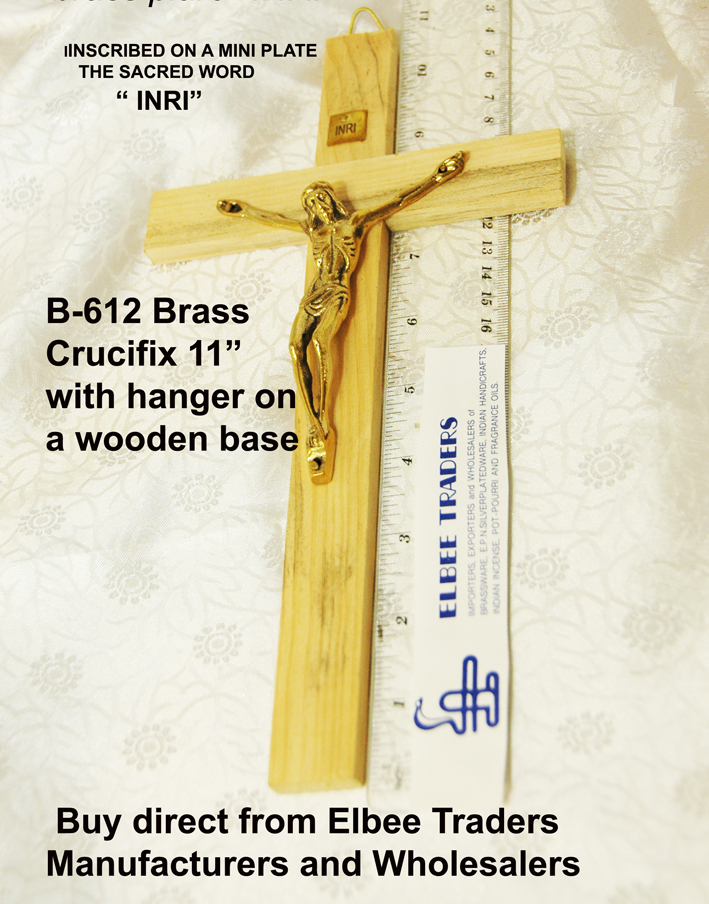 "B-612 Brass Curcifix on wooden hanger base-11""-£4.15"