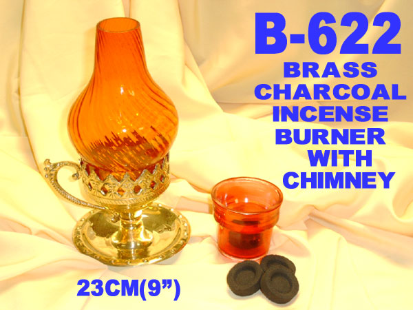 B-622 BRASS 3-PART CHARCOAL TABLET~CONE~NIGHTLITE BURNER-£6.75