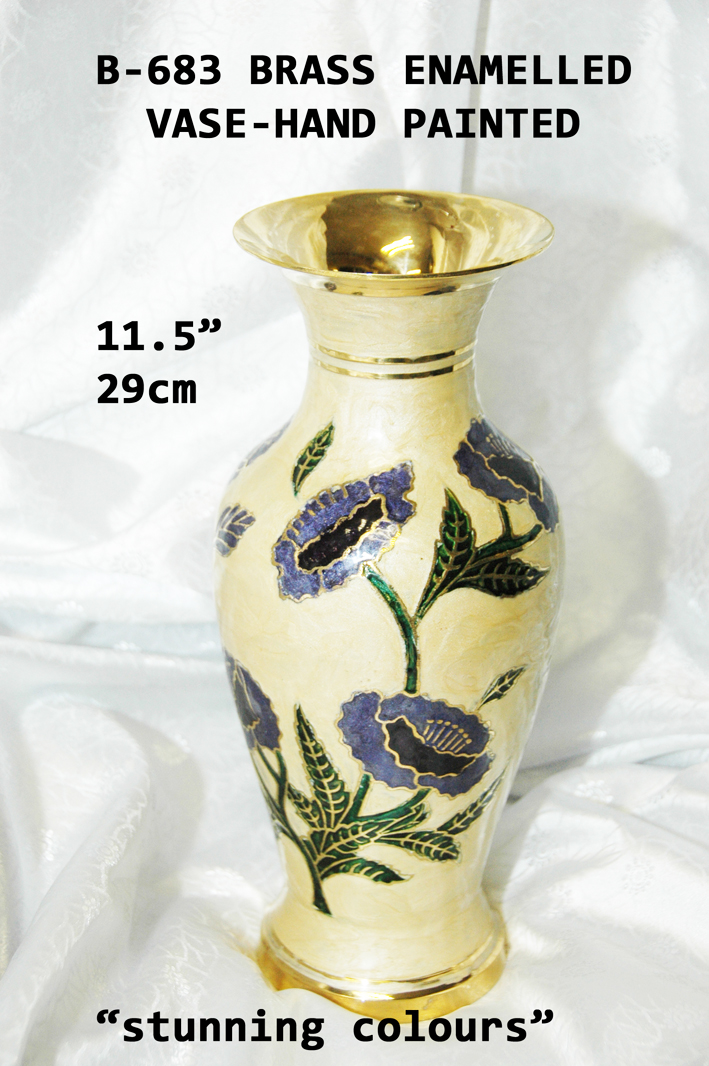 "B-683 BRASS ENAMEL HAND PAINTED VASE 11.5"" £ 19.95"