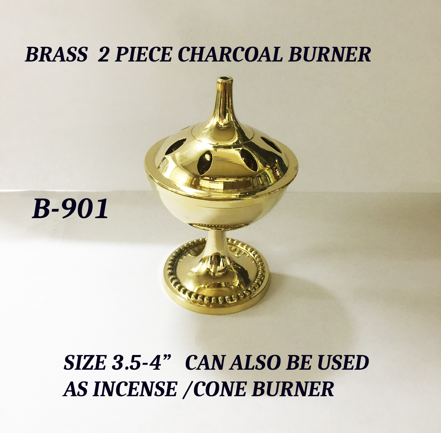 B-901 BRASS 2PC INCENSE & CHARCOAL BURNER0-£3.99