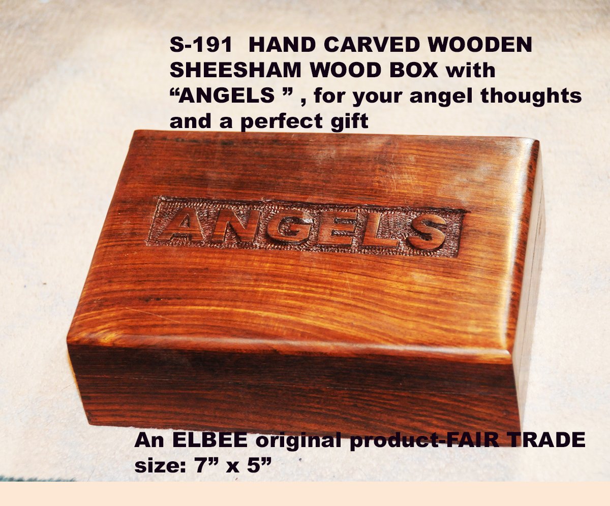 "S-191 FULLY CARVED BOX WITH WORD ""ANGELS"" -DOREEN-offer £4.99"