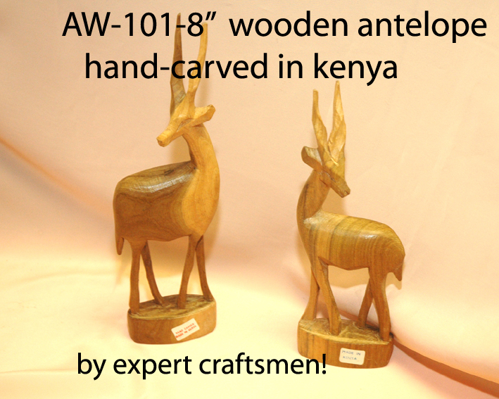 "AW-101-04  Hand Carved Wooden Antelope 4""(H) 99p"