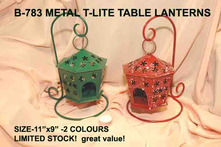 B-783 METAL T-LITE LANTERNS-6SIDED-SPECIAL OFFER £3.99 each