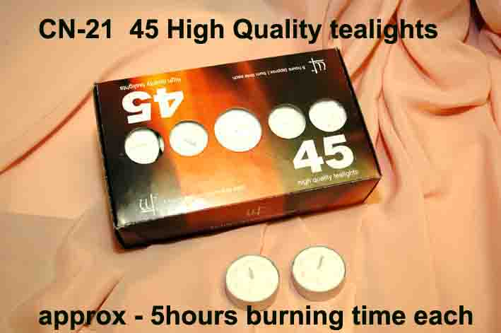 CN-21 45-TEALIGHTS approx 5hours each-£2.50box