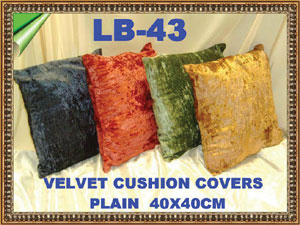 LB-43 VELVET CUSHION COVERS - PLAIN-£3.10EACH