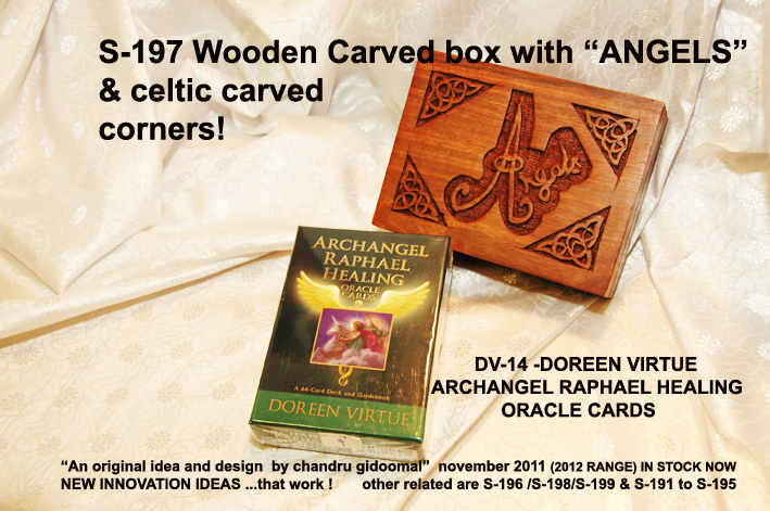 "S-197 WOODEN CARVED ""ANGELS"" BOX"" NEW SMALLER size £3.99 each"