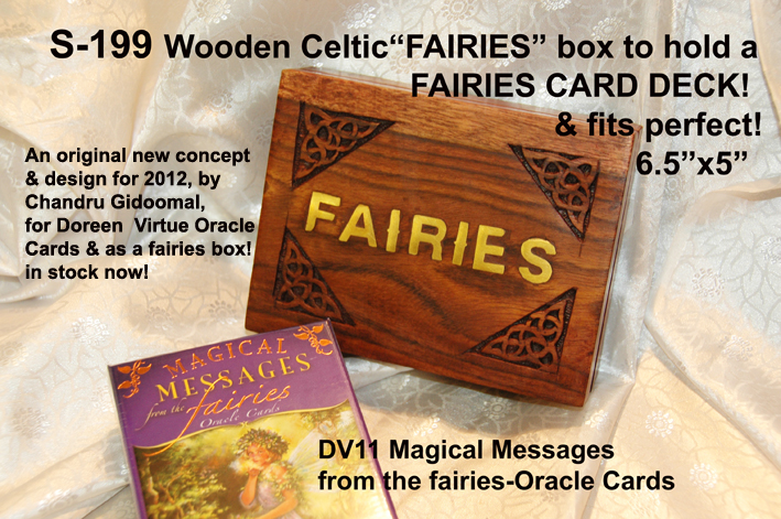 "S-199 WOODEN ""CARVED WITH CELTIC CORNERS-""FAIRIES £3.99each"