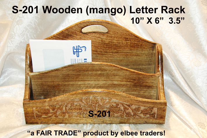 S-201 HAND CARVED LETTER RACK-MANGO WOOD -10X6-£4.50