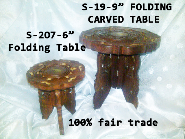 "S-19 WOODEN CARVED TABLE-9""-FOLDNG-£6.99"