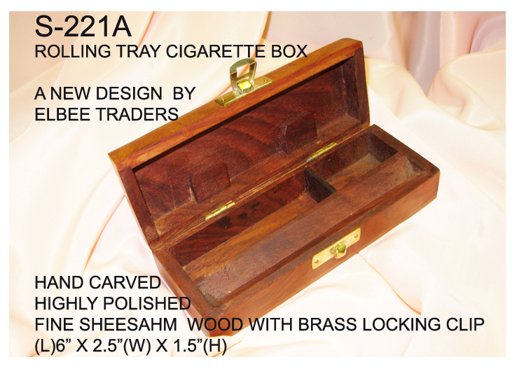 "S-211A CIGARETTE ROLLONG TRAY BOX(CARVED-AMSTERDAM TOP)-6""X2.5""-"