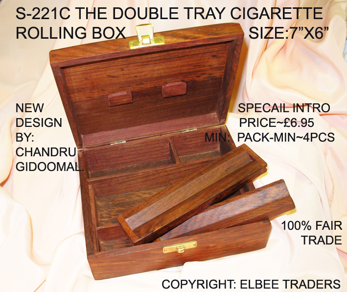 S-211C TWIN TRAY CIGARETTE ROLLING BOX(L-BCARVED AMSTERDAM TOP)£