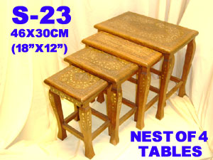 S-23 WOODEN BRASS INLAID NEST OF 4 TABLES-£115