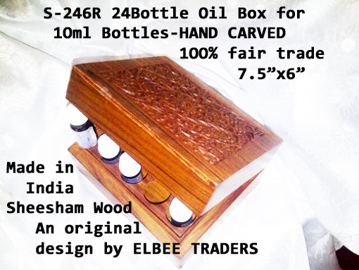 S-246R 12BOTTLES ESSENTIAL OIL BOX-1Oml OILS ROUND HOLES-£8.75