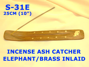 S-31E INCENSE ASH CATCHER ELEPHANT - BRASS INLAID-SPECIAL-46p
