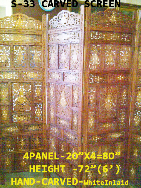 "S-33W CARVED 4PANEL FOLDING SCREEN-80""X72(H)£245.00"