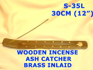 "S-35L WOODEN ASH CATCHER BRASS LEAF DESIGN (12"") (49peach-12's))"