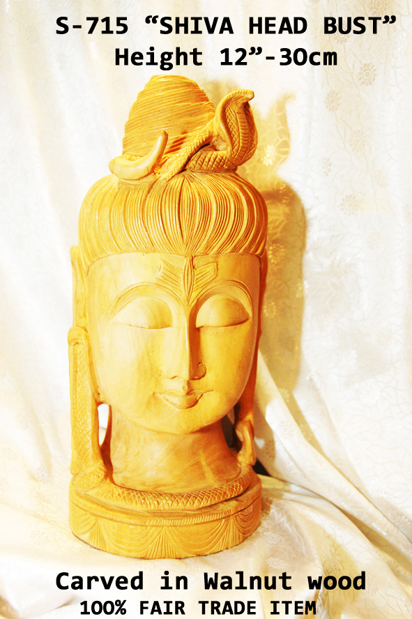 "S-715 ""SHIVA HEAD BUST "" MASTERPIECE CARVING-12""-£65.00"