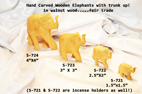 "£S-724 Lucky Wooden Elephant-4""x4""-£4.50-OFFER £3.50"