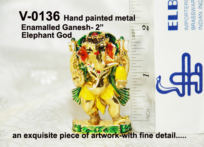 "V-0136 ENAMELLED GANESH-2""-HAND PAINTED-£3.75"